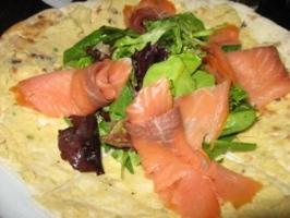 Hummus Salmon Flatbread At Audre Claire