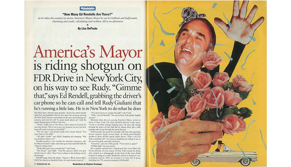 """The opening spread of """"How Many Ed Rendells Are There?,"""" from the April 1994 issue of Philadelphia magazine."""