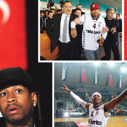 Another World: Clockwise from top: Iverson surrounded by fans at Atatürk International Airport; inside his new team's small gym; in New York answering questions about his move to Turkey.