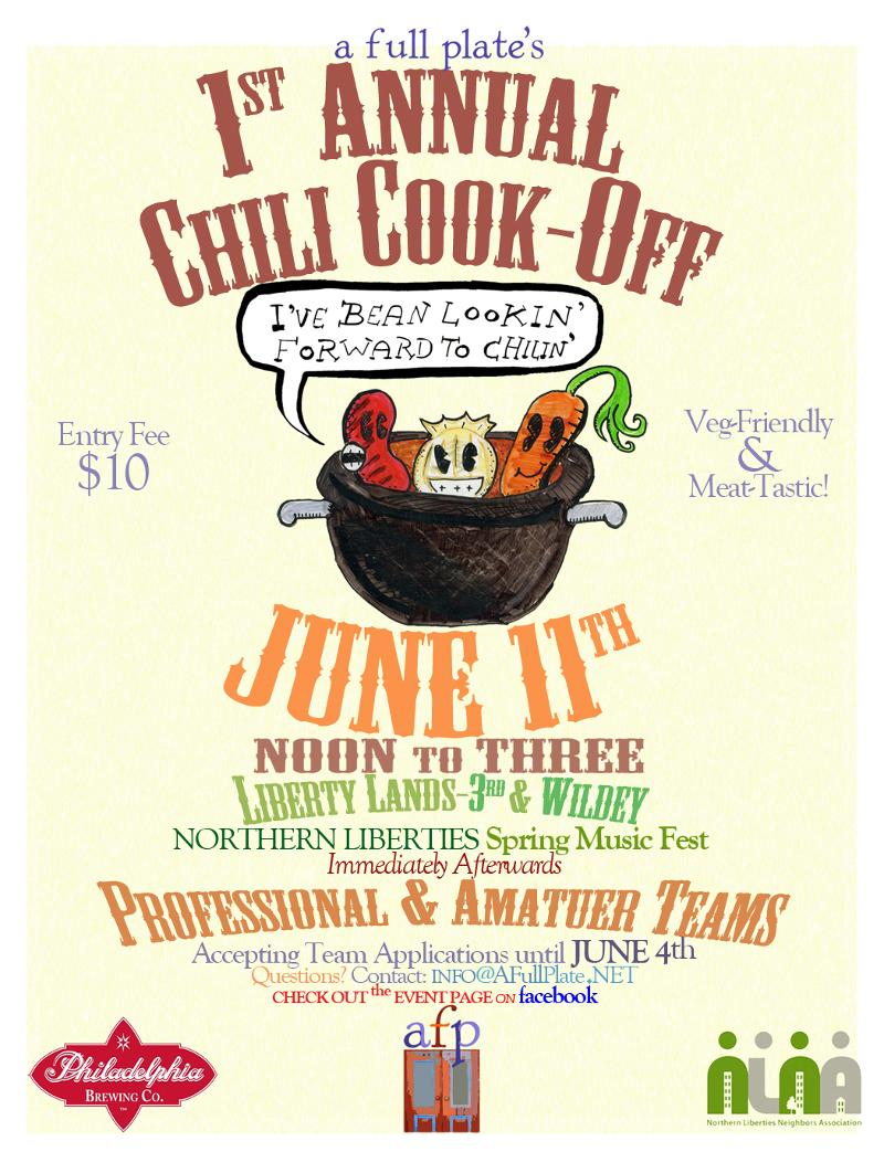 Nolibs chili cookoff saturday philadelphia magazine on saturday june 11th at the liberty lands park a full plate cafe is presenting their first ever chili cook off amateur and professional teams will saigontimesfo