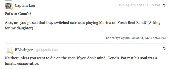 Buzz Bissinger Stops By Deadspin Comments: Bissinger Says Go to Geno's If You're Cool With Dying