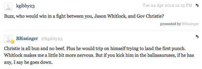 Buzz Bissinger Stops By Deadspin Comments l Bissinger Calls Out Chris Christie