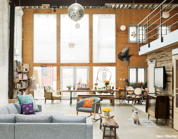 Doub Henshaw of Free People shows off her converted Fishtown garage.
