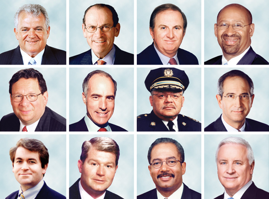 The faces of powerful Philadelphia politicians in 2012.