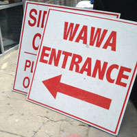 Wawa construction sign