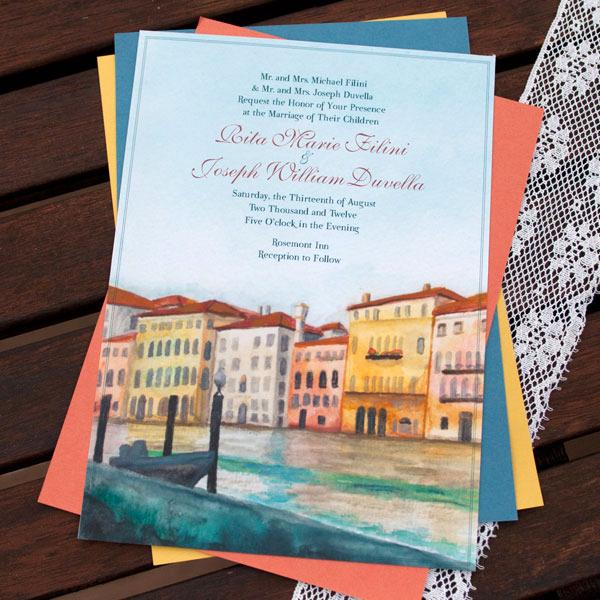 hand-painted, custom-designed watercolor wedding invitations, Wedding invitations