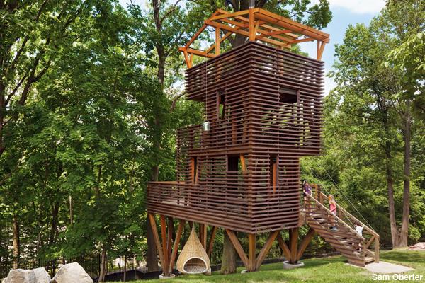 Nick Adam's $100,000 treehouse in Gladwyne, PA just outside Philadelphia.