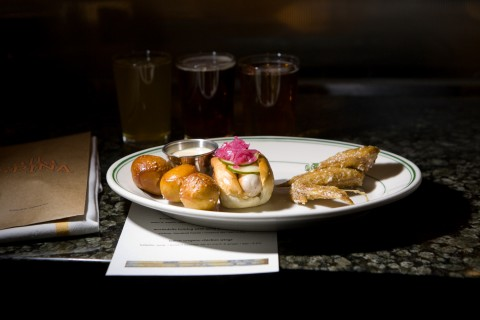 North Broad - Pretzels, mortadella hot dog and chicken wings are taken up several notches at Alla Spina.