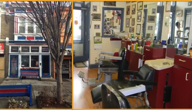 The exterior and interior of Tony's Barbershop