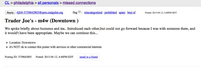 Missed Connections ad from Craigslist. Click to enlarge.