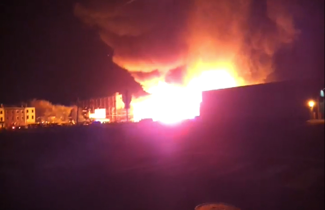 Screen shot from YouTube video made by Scratchistanof the warehouse fire. Full video below.