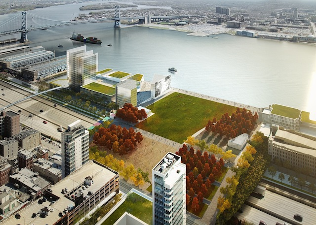 Rendering of Penn's Landing Park concept from the Central Delaware Master Plan (© KieranTimberlake/Brooklyn Digital Foundry)