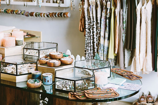The selection of jewelry and clothing at Adorn boutique in Fishtown, Philadelphia.