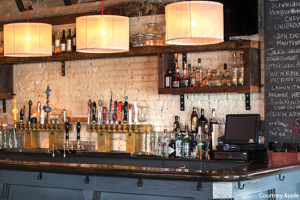 The bar at Goat Hollow restaurant in New Jersey, photographer Courtney Apple. Review in Philadelphia magazine.