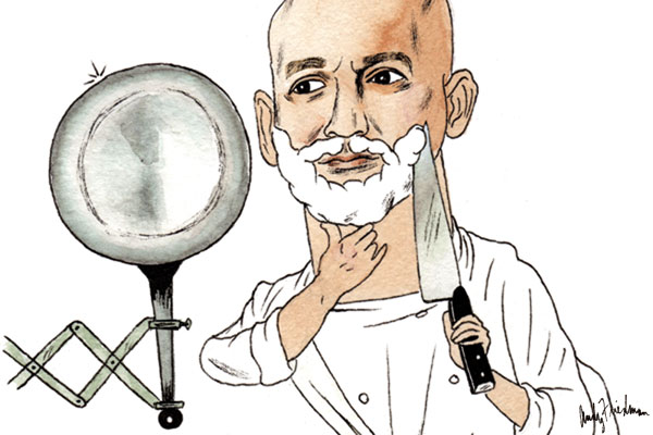 Illustration of Chef Marc Vetri of Philadelphia by artist Andy Friedman.