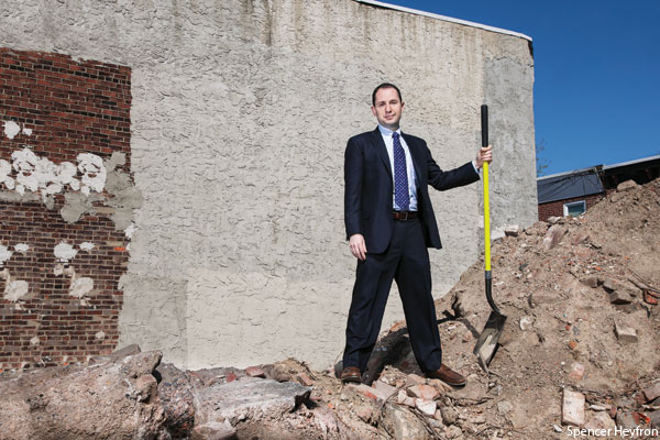 Developer Ori Feibush in a vacant lot in Point Breeze, Philadelphia.