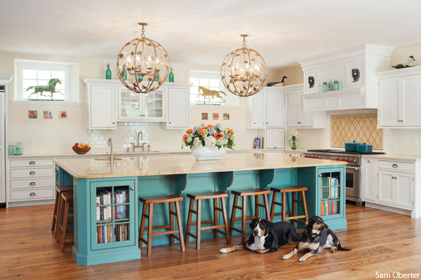 Peggy Brehman's renovated Newtown Square barn creates a homey atmosphere, complete with giant kitchen. Photo by Sam Oberter.