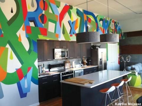 Sean Gallagher's graffiti mural adds splash to the kitchen.