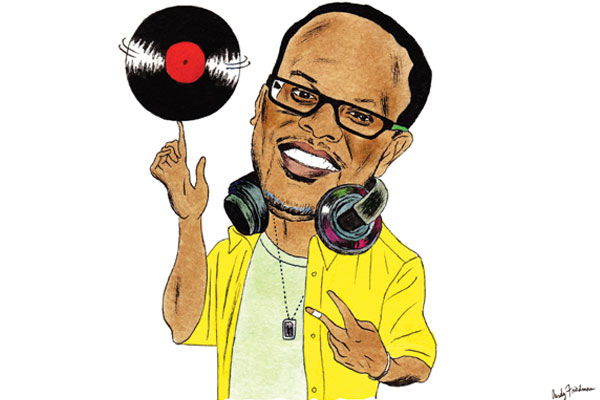 Illustration of Philadelphia DJ Jazzy Jeff by artist Andy Friedman.