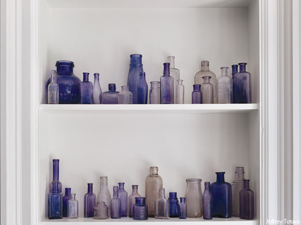 Photograph by Jeffrey Totaro for Philadelphia magazine. A Mona Ross Berman designed home in Chestnut Hill, Pennsylvania. Bottle collection.