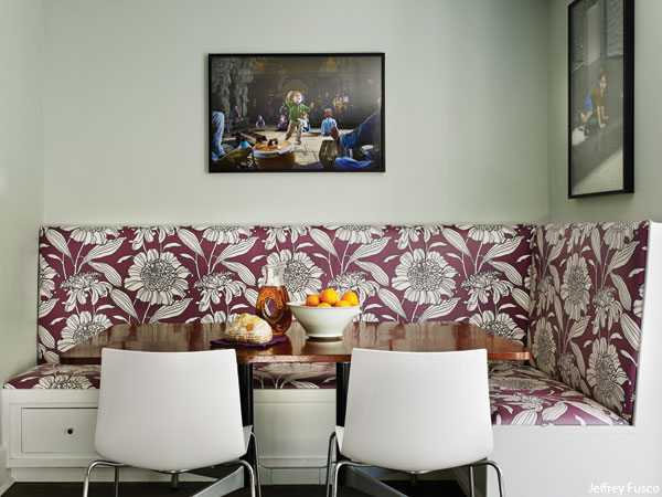 Photograph by Jeffrey Totaro for Philadelphia magazine. A Mona Ross Berman designed home in Chestnut Hill, Pennsylvania. Breakfast nook.