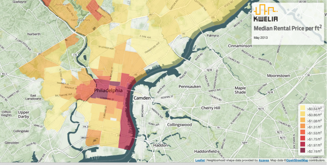 Screen grab from Kwelia's interactive rental heat map.