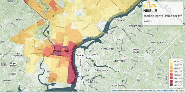 Screen grab from Kwelia's interactive rental heat map.