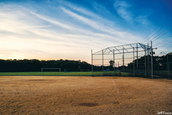 A baseball diamond in Millville New Jersey where Los Angeles Angel Mike Trout played as a youngster. Photo by Jeff Fusco for Philadelphia magazine.