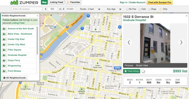 Screenshot of Zumper's interface