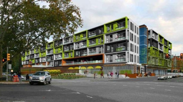 Rendering of proposed Ridge Flats via PlanPhilly.