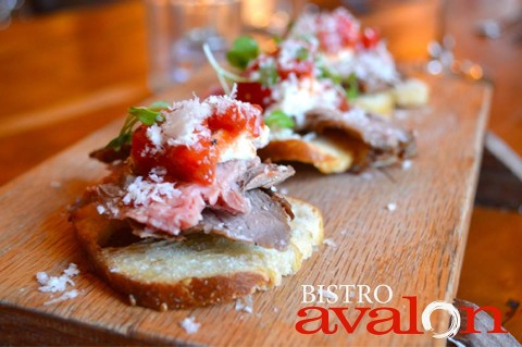steak & horseradish crostini with effn' hot relish & shaved parm