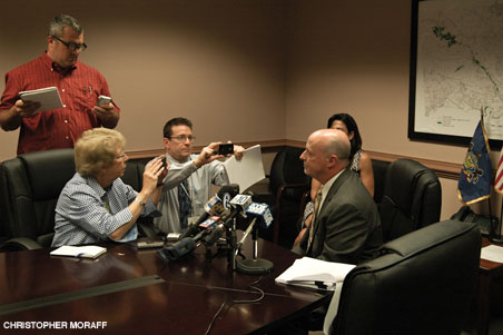 """""""Montgomery County solicitor Ray McGarry talks to reporters after a press conference issuing the county's response to a state filing challenging its issuance of marriage licenses to same-sex couples."""""""