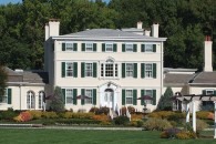 Guests are greeted with the magnificent view of the mansion's facade and immediate view of the Delaware River.