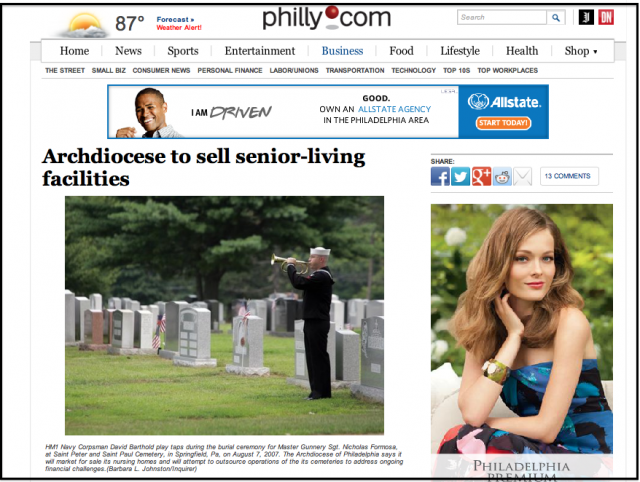 Screenshot of philly.com web page