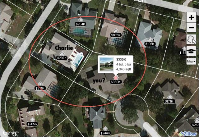 Screen shot of Zillow.com map.
