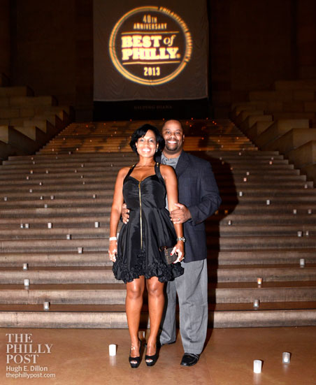 Marcel and Alicia White standing in the grand hallway of the Philadelphia Art Museum