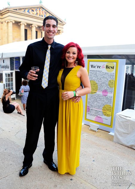 Steve Basil with the colorful Best of Philly 2013 Crayola Hair Color Brittiany Cunningham at Architeqt Salon and Gallery