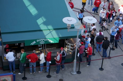 FedNuts aren't the only food at the ball park. The new Schmitter Stand had a long line all day.