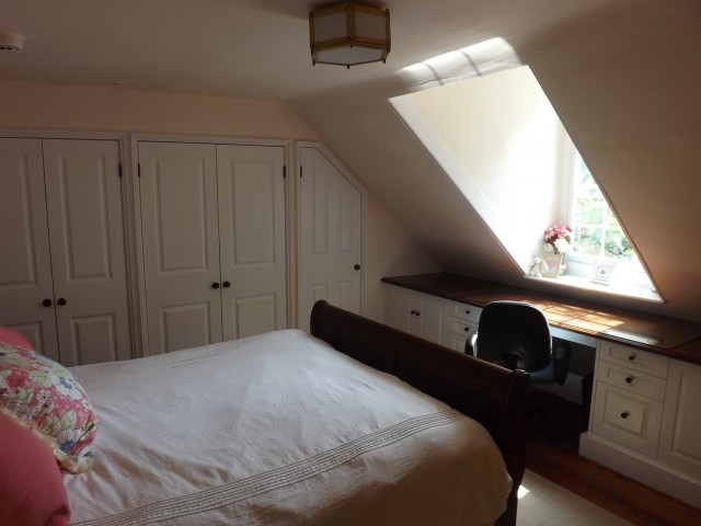 Another angle of the fourth-floor bedroom that had an escape hatch. Photo: Sandy Smith