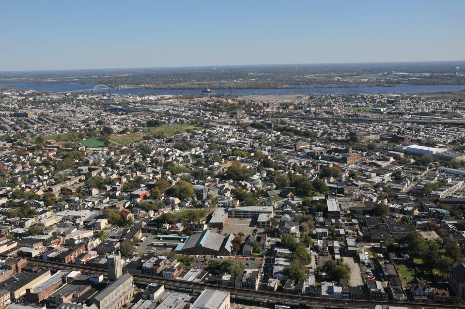 Aerial shot of Tacony, a neighborhood in Northeast Philadelphia