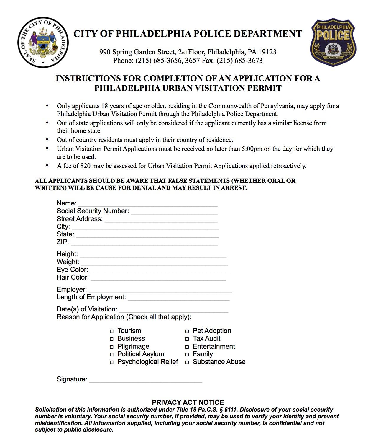 Permit For Visiting Philadelphia?