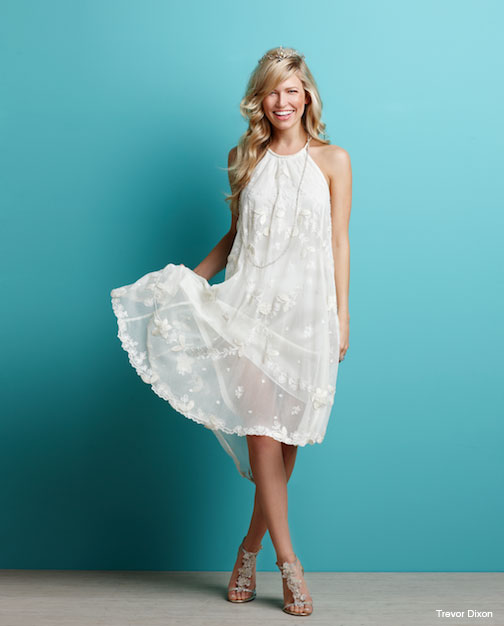 Tying The Knot On Beach Is Perfect Time To Get A Little Less Formal And Lot More Fun Cotton Tulle Kauai Dress With Leaf Embroidery Braided Neck