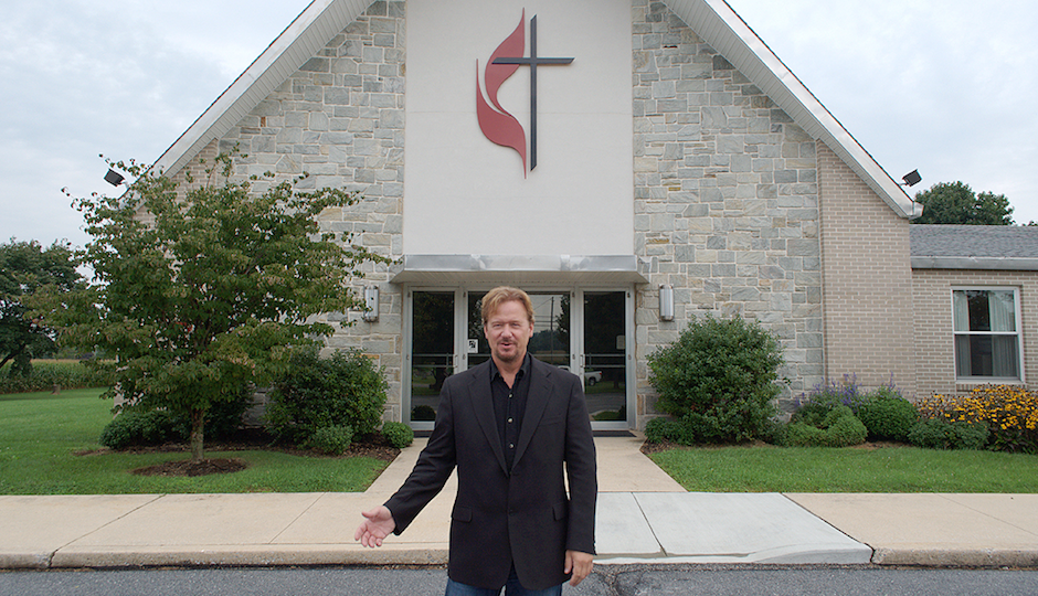 Schaefer stands in front of Zion United Methodist Church of Iona in South Lebanon Township.