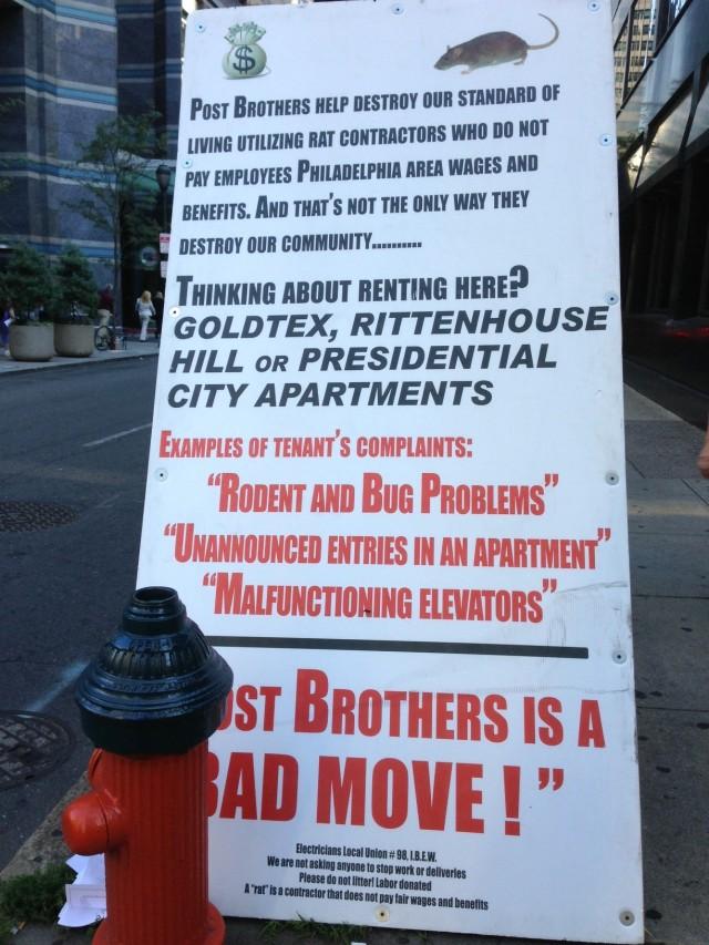 union sign against post bros
