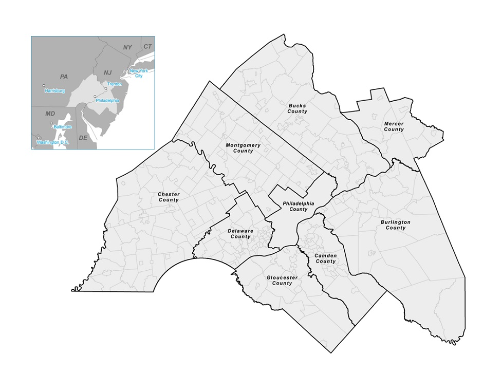 Delaware Valley Regional Planning Commision map via Wikipedia