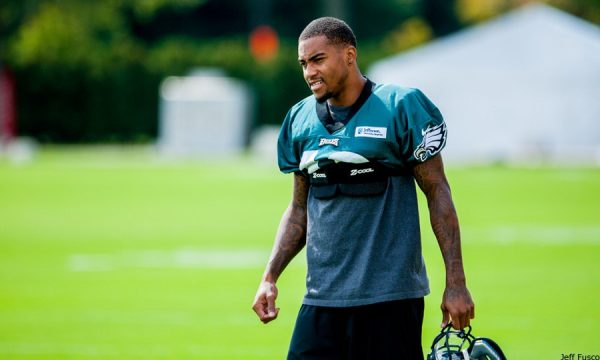 DeSean Jackson practice tired helmet off