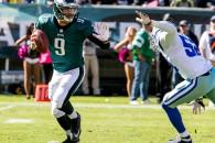 Eagles QB Nick Foles evades the Cowboys' rush. 10/20/13