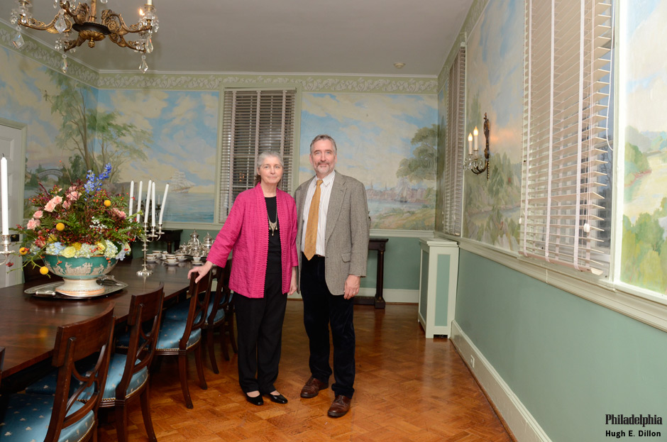 A never-before-seen mural, </i>The Portage Trail to Strawberry Mansion<i>, painted by <b>Dot Bunn</b> and <b>Patrick Connors</b> (below), was unveiled in the upstairs dining room.