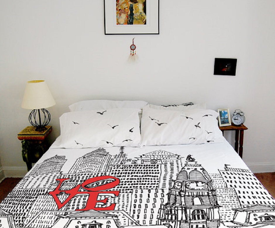 LOVE Park duvet by Urban Works Textiles via Etsy