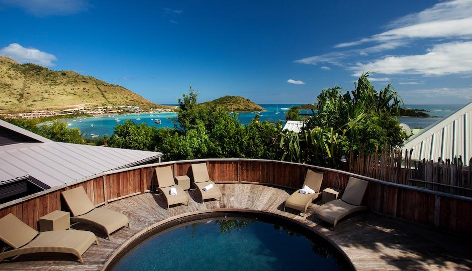 The main pool at the Karibuni Lodge on St. Martin.